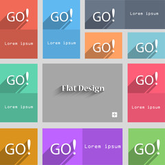 GO sign icon. Set of colored buttons. Vector