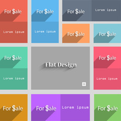 For sale sign icon. Real estate selling. Set of color