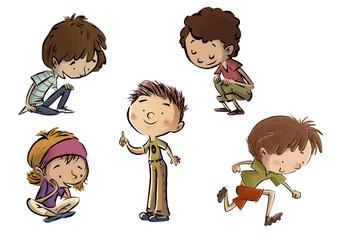 niños en diferentes poses