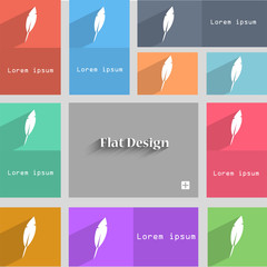 Feather sign icon. Retro pen symbol. Set of colore