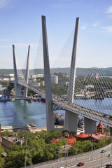 Golden Bridge in Vladivostok. Russia