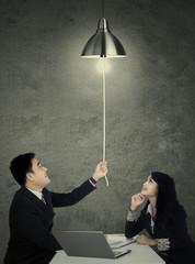 Business team with lightbulb