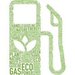 biocarburante simbolo vettoriale tagcloud