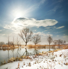 Winter river with the frozen shores
