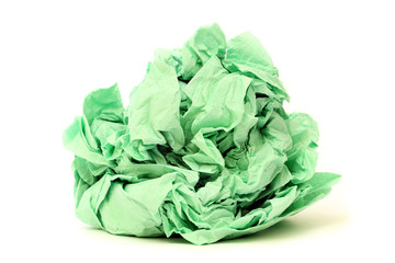 Green crumpled toilet paper isolated on white