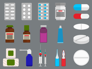 Tablets and medicine (drugs) flat icons set