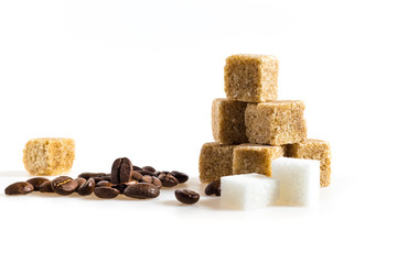 sugar cubes and coffee bean