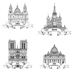 Travel Europe labelset Famous european landmarks collection City symbols: Paris (Notre Dame Cathedral London St Paul Cathedral Rome St. Peter Cathedral Moscow St. Basil Cathedral