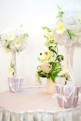 Wedding Reception. Restaurant interior by preparation for weddin