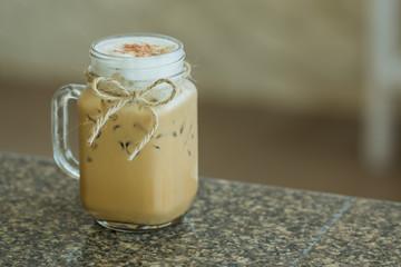 Fresh ice coffee in big glass