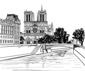 Notre Dame de Paris Cathedral, landscape Seine river, France