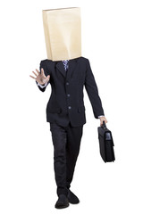Entrepreneur with paper bag on head