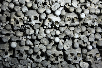 Human bones and skulls in Sedlec Ossuary near Kutna Hora.