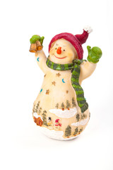 fat snowman with shawl on white background
