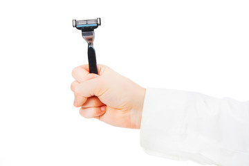 Male shaver in hands fist