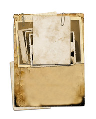 Set of old archival papers and vintage postcard isolated on whit