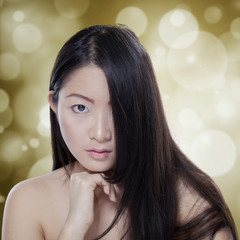 Girl with black hair and healthy skin