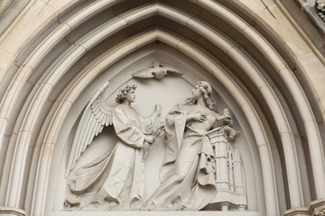 The Annunciation. Gothic relief in Saint Wenceslas Cathedral in