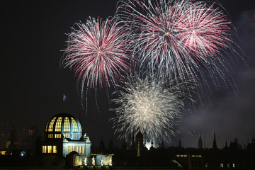 New Year fireworks over Prague, Czech Republic.
