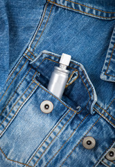 Jeans pocket closeup with spray