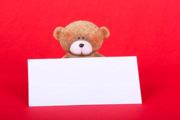 Teddybär mit Blancoschild