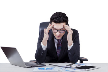 Male entrepreneur look frustrated