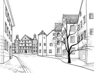 Pedestrian street. Old city cozy buildings. Historic cityscape.