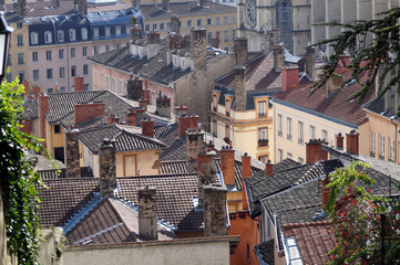 The Rooftops Of Old City In Lyon France