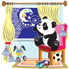 cartoon panda and moon
