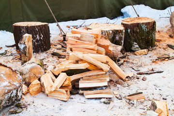 The logs of fire wood in winter