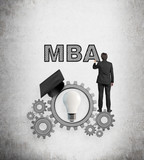 businessman drawing mba poster