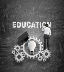 businessman drawing education