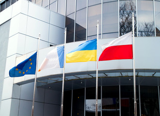 The Flags of the European Union, Ukraine, Poland, and other on o