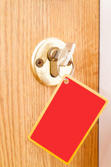 Locking up or unlocking door with key with card (charm)