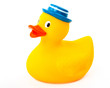 Rubber toy Duck with blue hat isolated on white background - 76678238