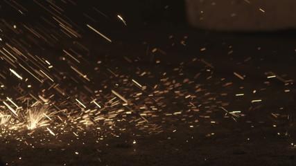 Flying sparks slow motion