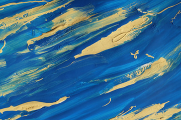 Abstract blue and yellow paint smears