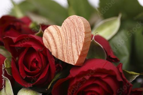 canvas print picture herz  mit rosen