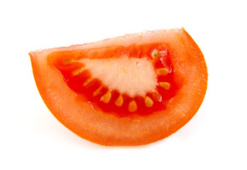 One slice of tomato on white background.