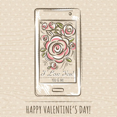 valentine card with smartphone and roses,  vector