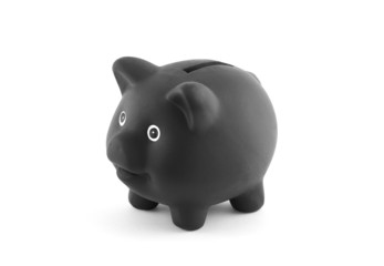 Black piggy bank with clipping path