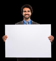 Man holding a white sheet