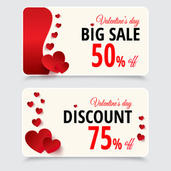 Set of tags with discount for valentines day