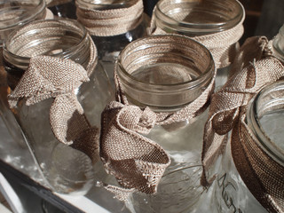 Mason Jars With Burlap Bows
