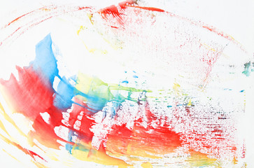 Watercolor paint line in vibrant red, yellow and blue