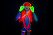 sexy neon uv glow dancer with hulahoop - 76684206