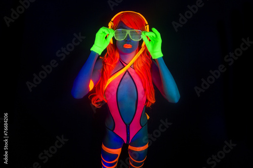 sexy neon uv glow dancer with hulahoop Poster