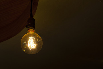 glowing tungsten light blub