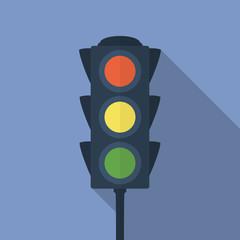 Icon of traffic light. Flat style