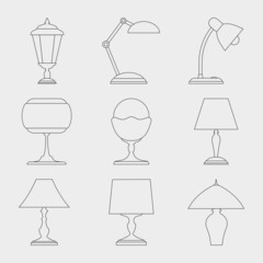 Icon set of Lamps.